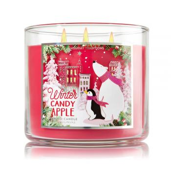 Bath & Body Works - Bougie 3 mèches Winter Candy Apple